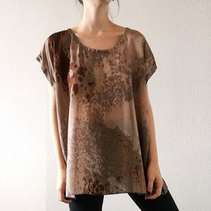 Eileen Fisher Woman Size 2X Silk Blouse Splatter